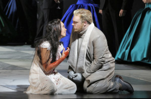 Nadine Sierra in the title role and Piotr Beczala as Edgardo in Donizetti's Lucia di Lammermoor. ©Cory Weaver/San Francisco Opera
