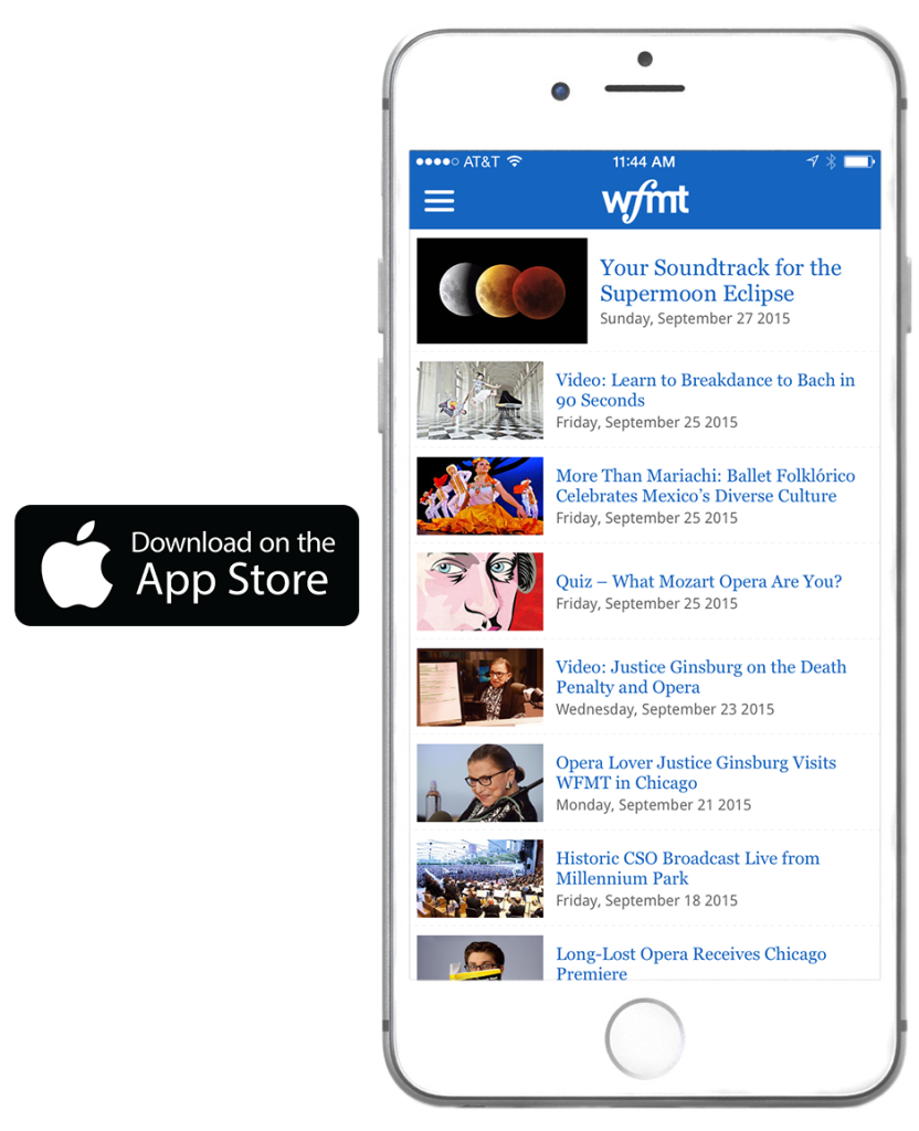 WFMT app on iPhone 6