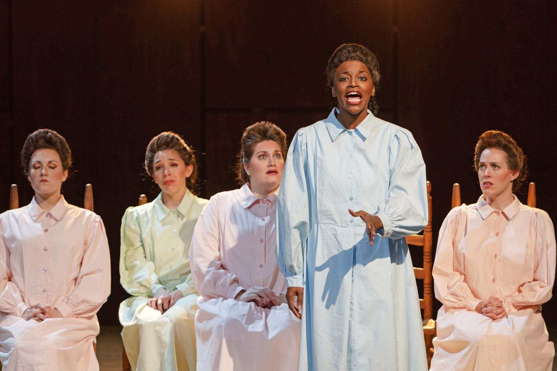 "Jasmine Muhammad (front), and Samantha Korbey, Nicole Rodin, Alexandra Loutsion and Meredith Lustig (left to right) in Pittsburgh Opera's ""Dark Sisters"" (Photo: David Bachman)"