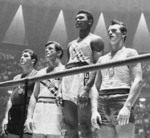 Ali, then known as Cassius Clay, at the 1960 Olympics (second from right)