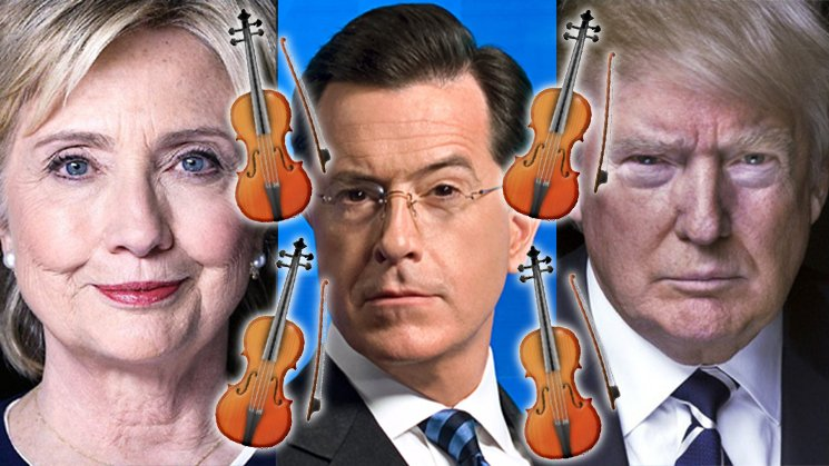 Stephen Colbert Orchestrates Live String Quartet Accompaniment to Final Presidential Debate