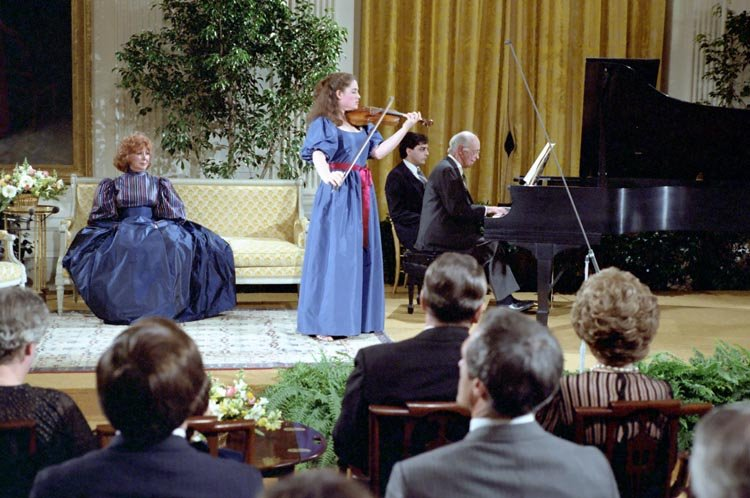 Ida Levin and Rudolf Serkin perform in the East Room during the PBS