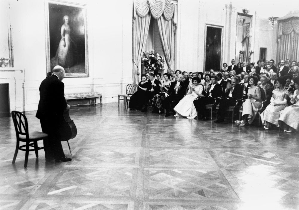 Pablo Casals performs for the Kennedys and guests