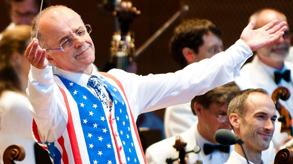 Guest conductor Christopher Bell at a previous Grant Park Music Festival Independence Day Salute concert. (Photo: Norman Timonera)