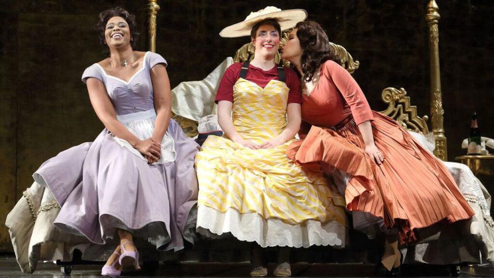 Pretty Yende as Susanna, Renee Sapier as Cherubino and Guanqun Yu as Countess Almaviva (Photo: Craig T. Mathew)