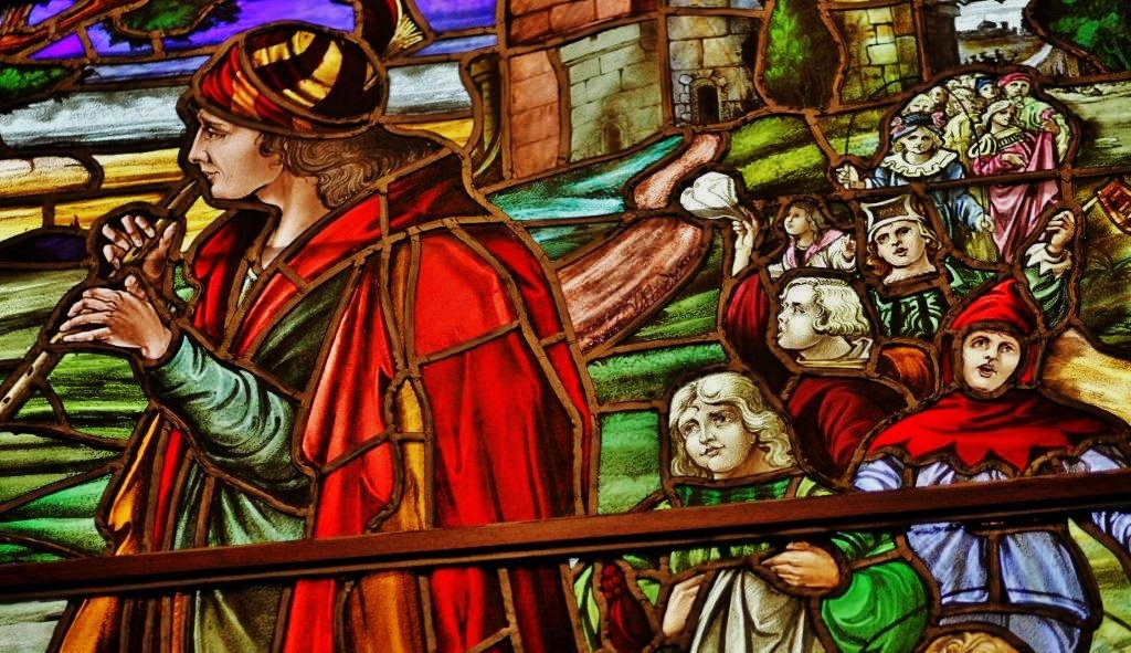 Pied Piper of Hamelin: Stained Glass Panel
