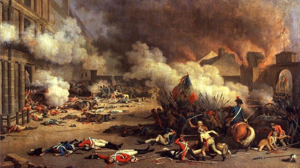"""""""Prise du palais des Tuileries,"""" by Jacques Bertaux"""
