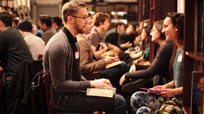 "Composers and musicians meet in a ""speed dating"" style at the New Music Gathering at Boston Conservatory at Berklee in Boston, Massachusetts"