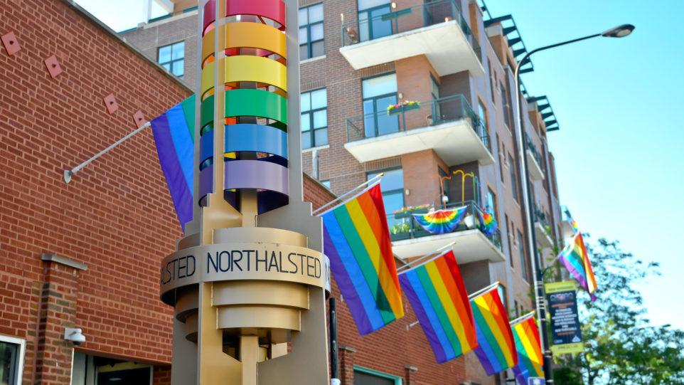 Color photo of Boystown Rainbow Pylons Legacy Walk LGBTQ