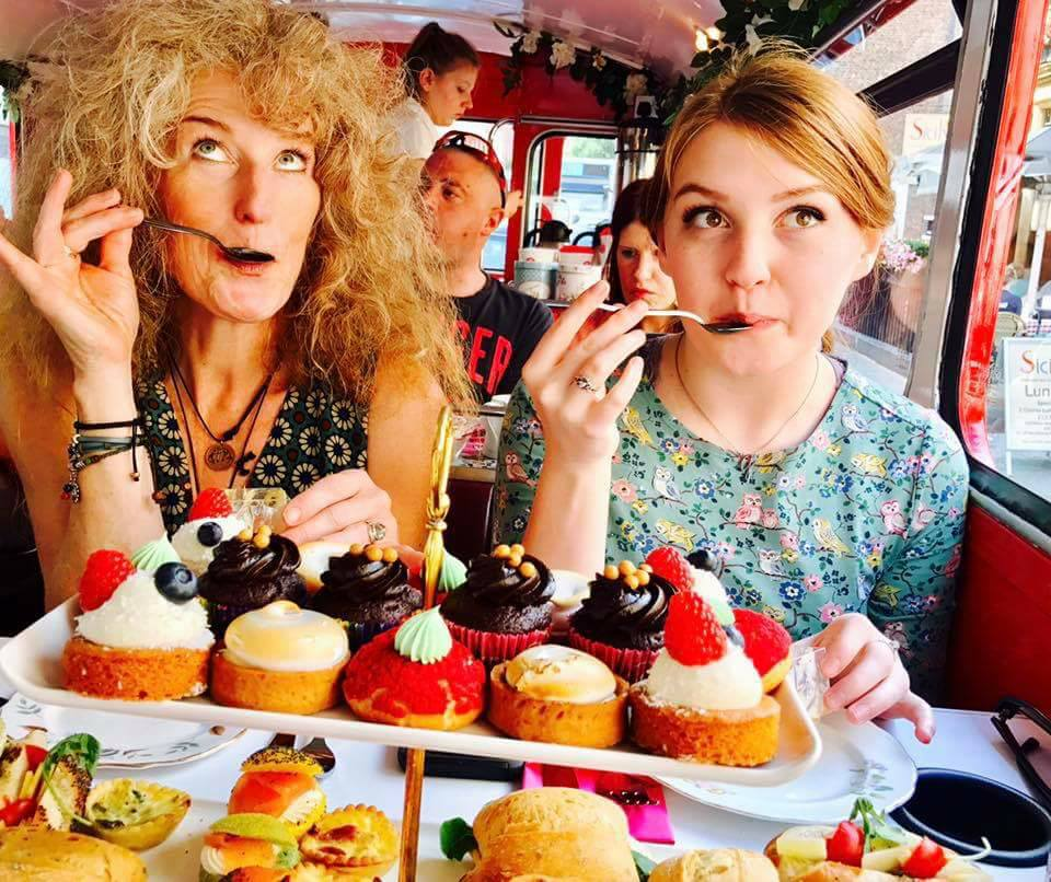 Maggie Clennon Reberg and her daughter, mezzo-soprano Grace Reberg, enjoy some sweet treats on a trip to London in 2017
