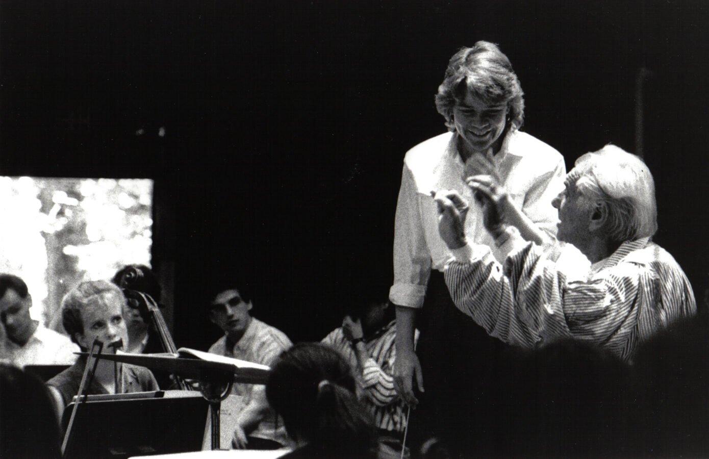 Marin Alsop with Leonard Bernstein (Photo: Walter Scott)