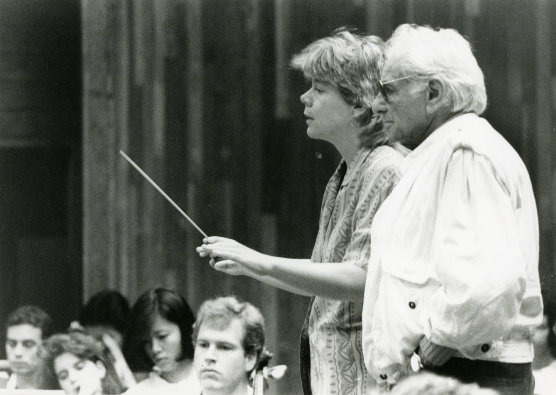 Leonard Bernstein works with Marin Alsop, a conducting fellow at Tanglewood in 1988 and 1989 (Photo: Boston Symphony Orchestra archives)