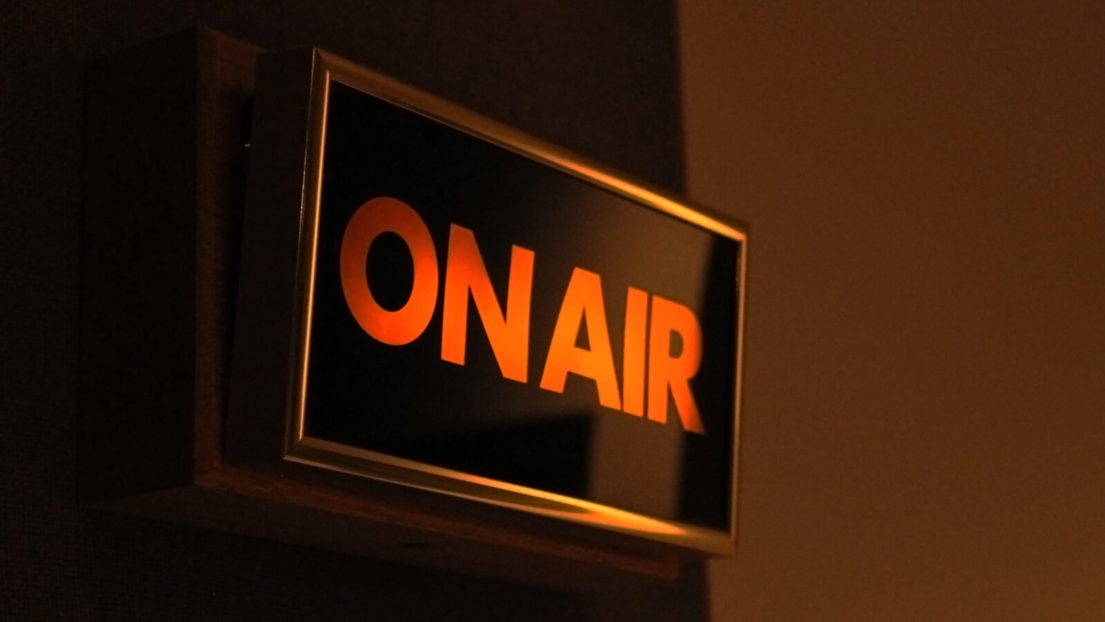 The on air light in WFMT's Levin Performance Studio. radio. color photo