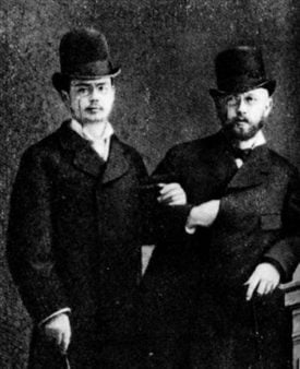 Tchaikovsky (right) with Iosif Kotek (left). Kotek may have helped inspire the concerto during their time together at a resort in Lake Geneva following the composer's separation from his wife