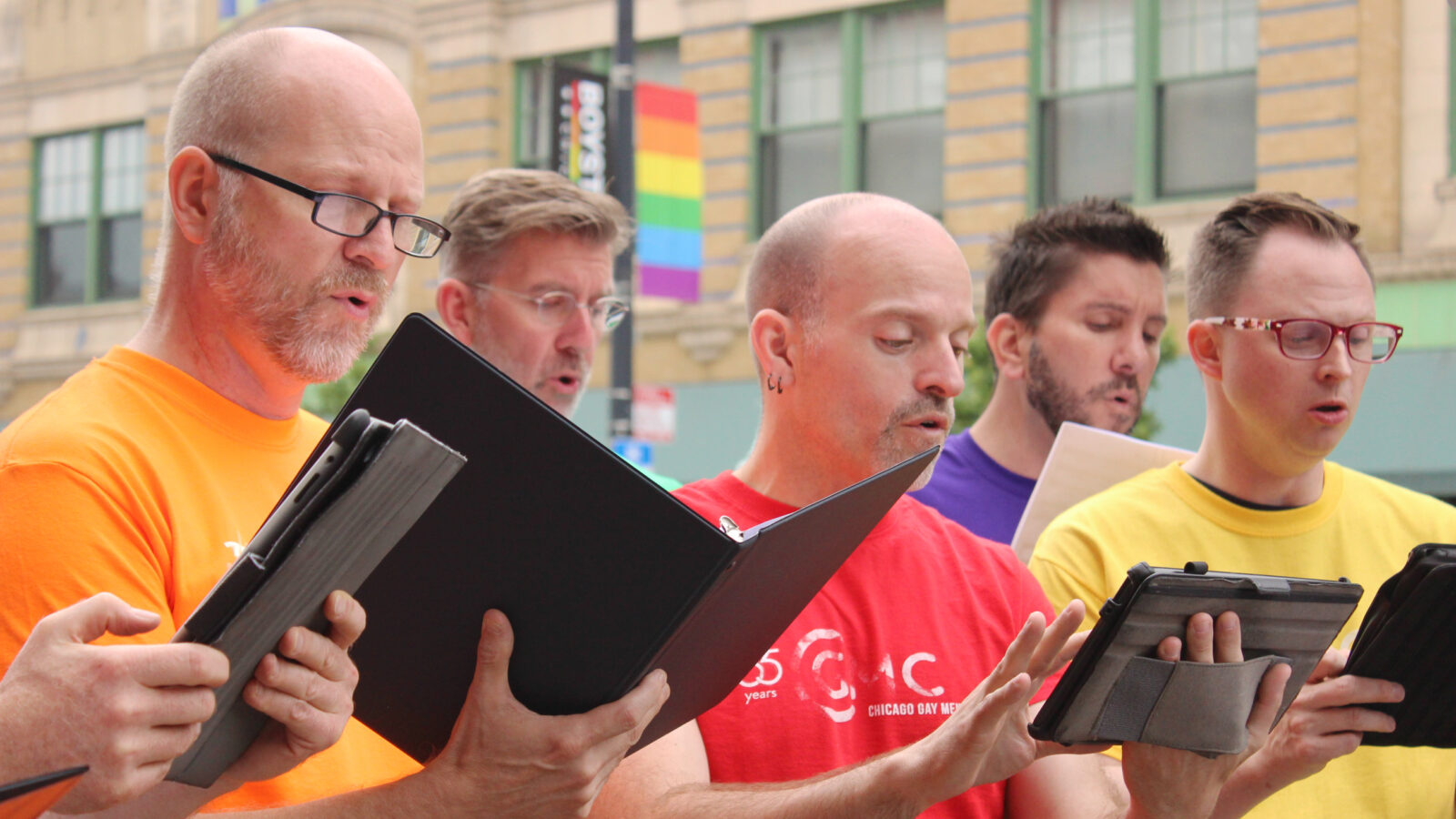 "Members of the Chicago Gay Men's Chorus perform ""Somewhere"" from West Side Story live from the Legacy Walk."