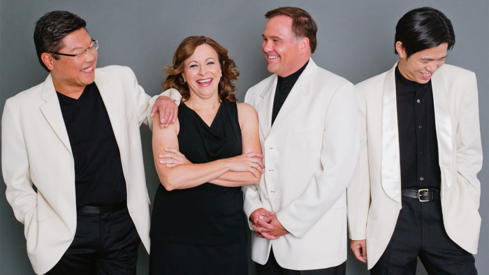The Miami String Quartet (L-R): Benny Kim, violin; Cathy Meng Robinson, violin; Keith Robinson, cello; Scott Lee, viola (Photo: Tara McMullen)