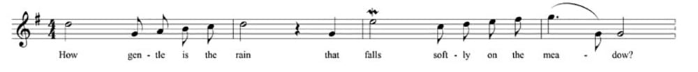 "The opening measures of the vocal line of ""A Lover's Concerto"""