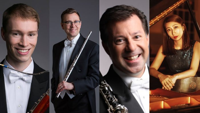 DePaul University Woodwind Faculty — Keith Buncke, Stefán Ragnar Höskuldsson, and Steve Williamson are joined by collaborative pianist Beilin Han (Photos for Buncke, Hokuldsson, and Williamson: Todd Rosenberg; Photo for Beilin Han: Yang's Studio)