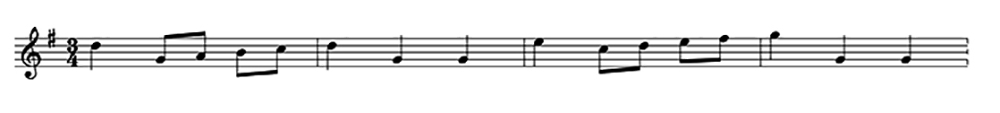The opening measures of the Minuet in G