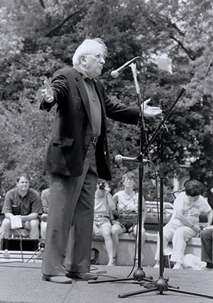 Studs Terkel at the annual Bughouse Square Debates.