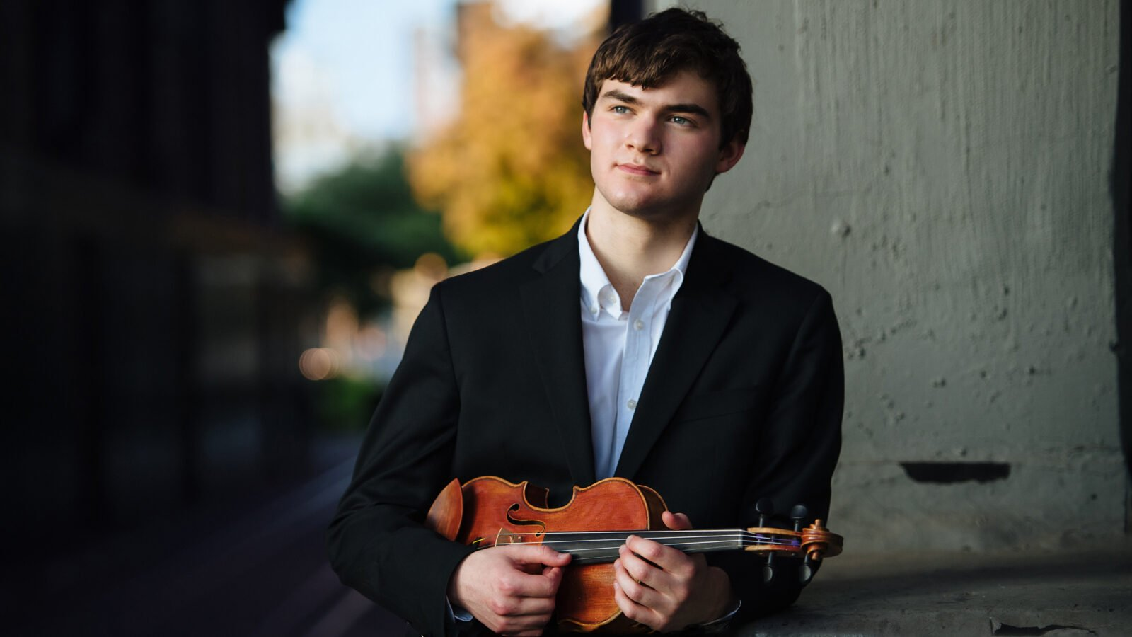 Violinist Nathan Meltzer, an 18-year-old Julliard student who has been loaned the recovered Stradivarius violin (Photo: Jiyang Chen)
