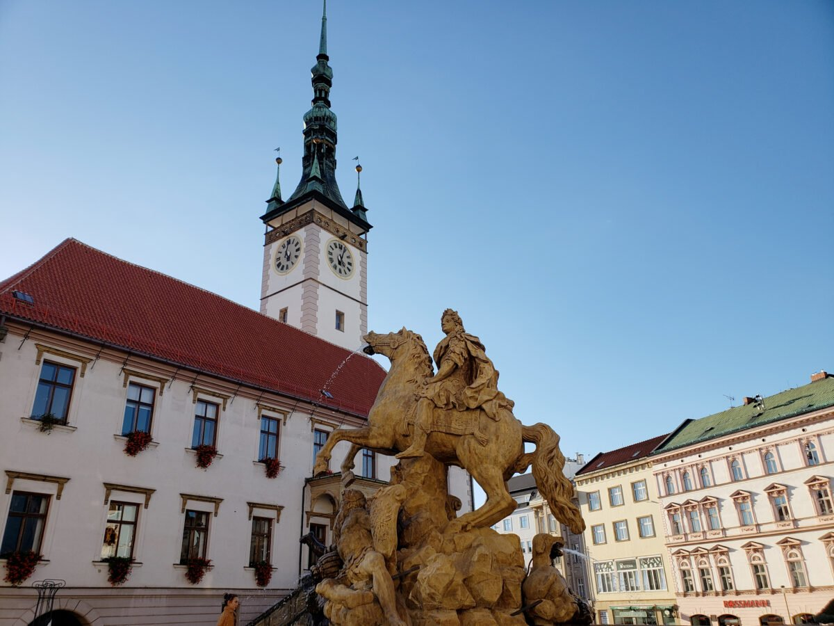 Outside the Town Hall in the Upper Square of Olomouc, Czech Republic.