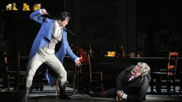 Yonghoon Lee (Andrea Chénier) and George Gagnidze (Carlo Gérard) in Andrea Chénier (Photo: Cory Weaver)