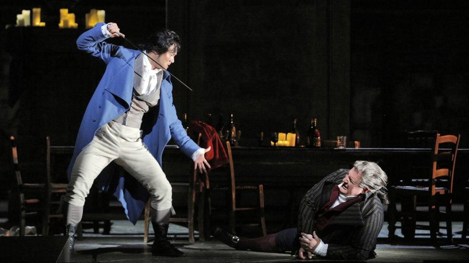 Yonghoon Lee (Andrea Chénier) and George Gagnidze (Carlo Gérard) in Andrea Chénier (Photo: Cory Weaver)