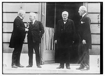 The Big Four: (L-R) Prime Minister David Lloyd George of the UK, Premier Vittorio Orlando of Italy, Premier Georges Clemenceau of France, and President Woodrow Wilson of the US (Source: Library of Congress)