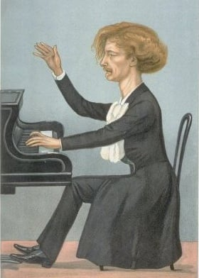 This caricature of Paderewski appeared in <i>Vanity Fair</i> in 1899