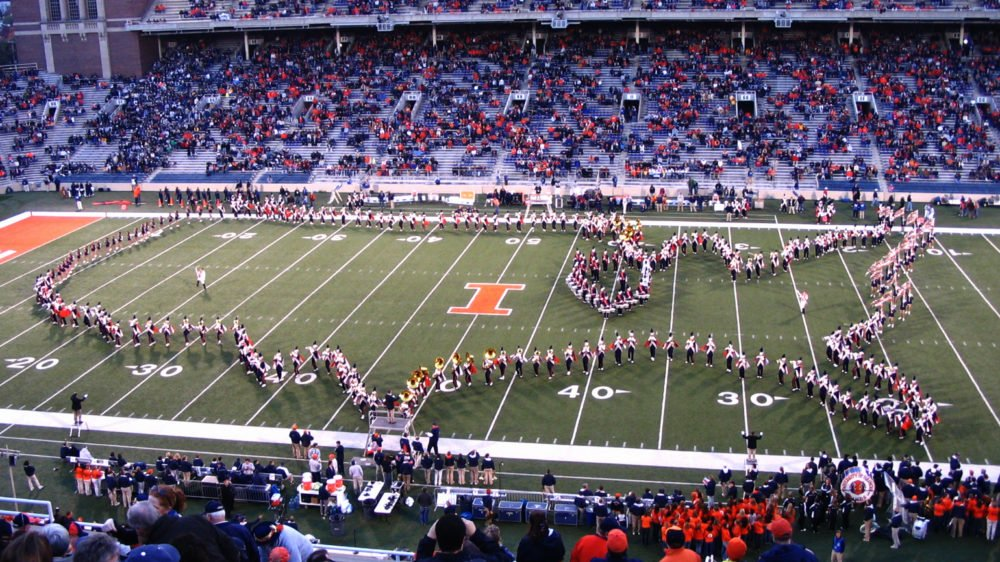 The Marching Illini, the marching band for the University of Illinois Urbana-Champaign (Photo: Fumo7887)
