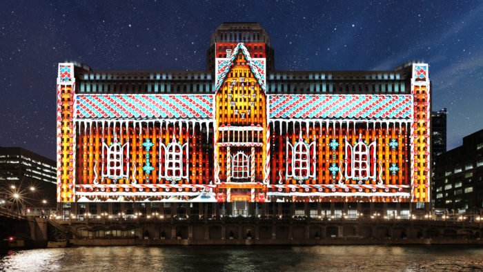 WFMT partners with Art on theMART to pair classical holiday music with a festive, 25-story art installation on the Chicago River