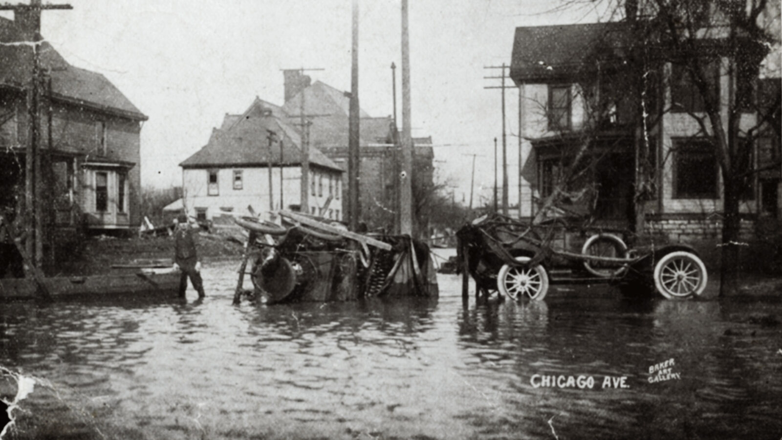 The Great Flood of 1913 exacted widespread damage in numerous Midwest cities, including Columbus, Ohio, as seen in this photo.