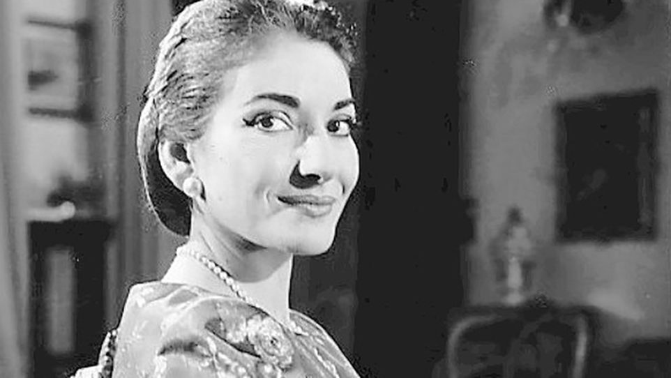 Maria Callas portrait looking over right shoulder