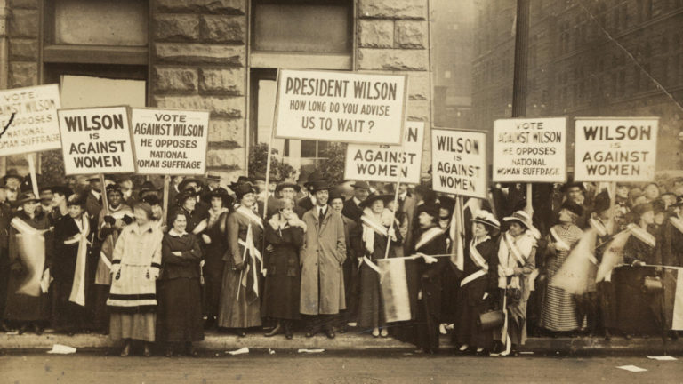 women and men protesting for voting rights suffrage 1916 chicago