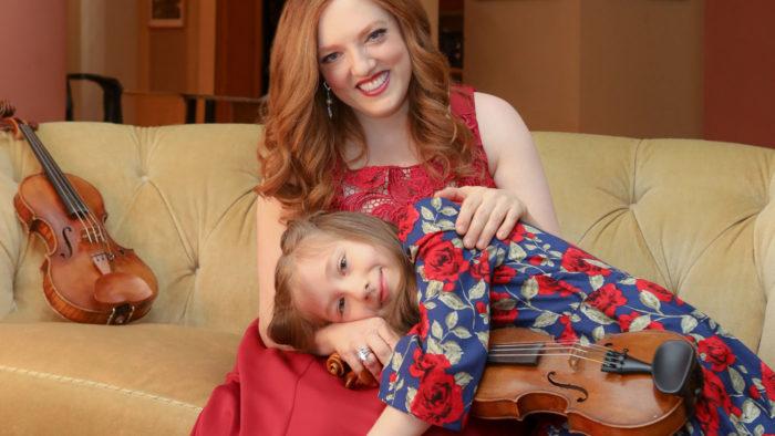 Rachel Barton Pine with her daughter