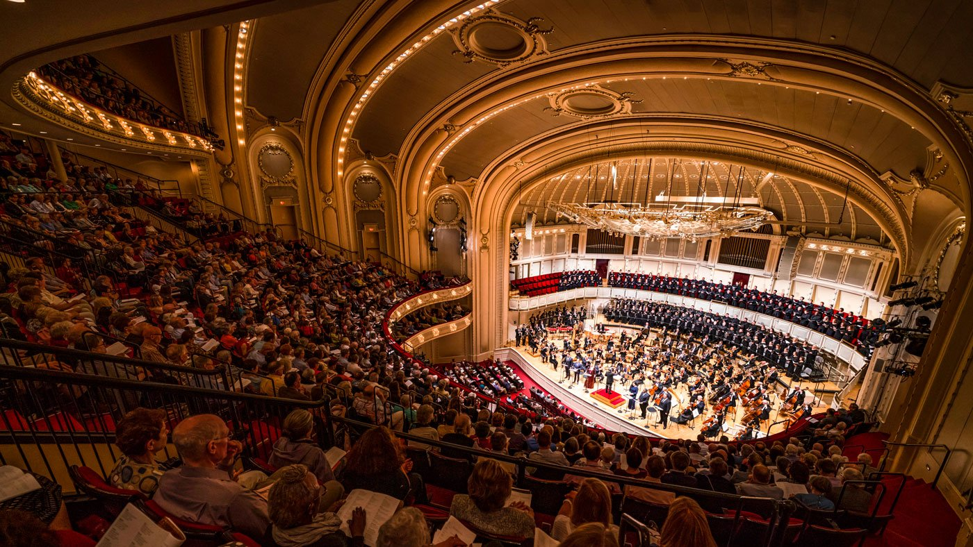 Chicago Symphony Orchestra performance in auditorium