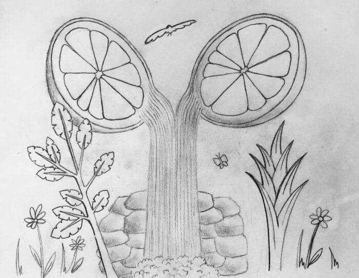 Drawing: Esme Arias-Kim's representation of Camille Saint-Saëns' Havanaise, Op. 83.