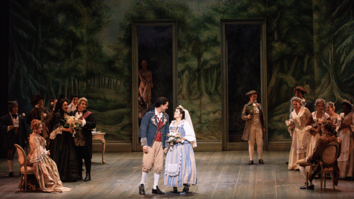 Act Three scene from the Marriage of Figaro. Figaro and Susanna wedding ceremony.