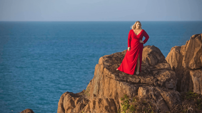 Laura Strickling on the coast of Virgin Islands