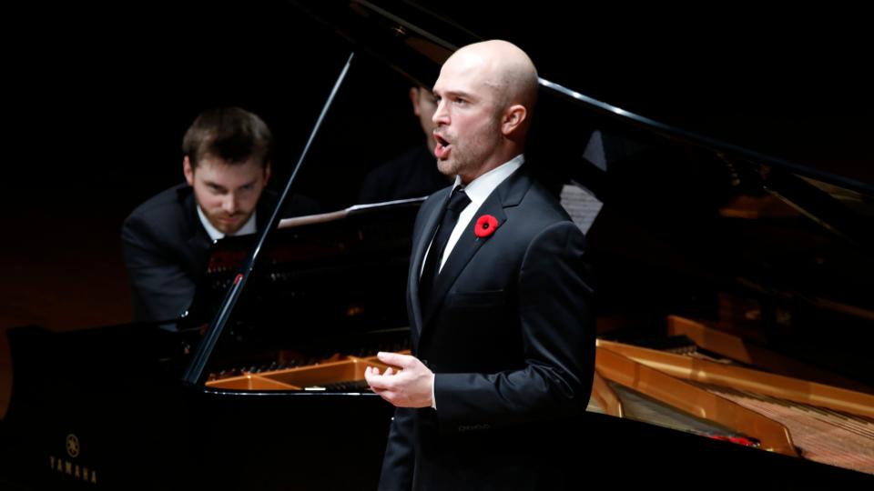 John Brancy singing, Peter Dugan at the piano