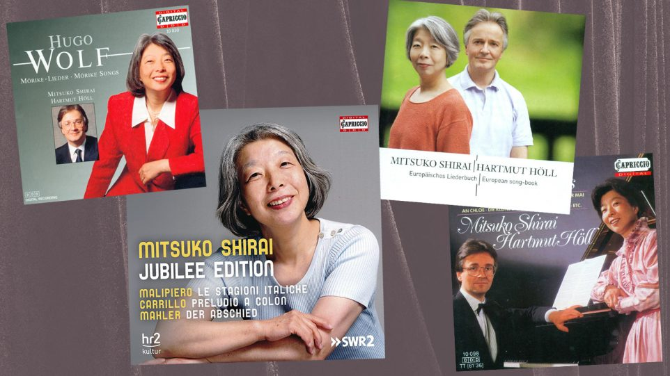Collage of Mitsuko Shirai and Harmut Holl Album covers of