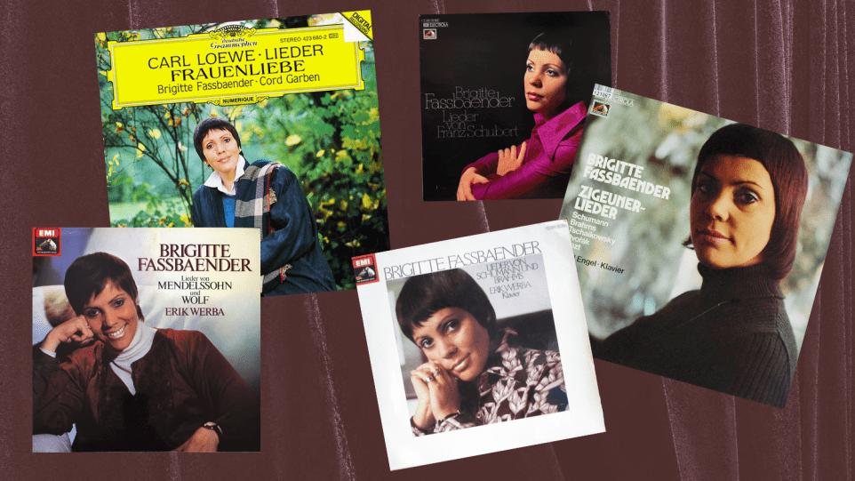 Collage of five Brigitte Fassbaender album covers