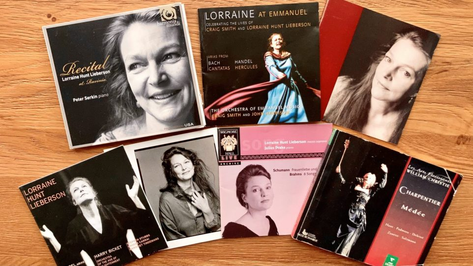 Collage of CD covers of Lorraine Hunt Lieberson's discography