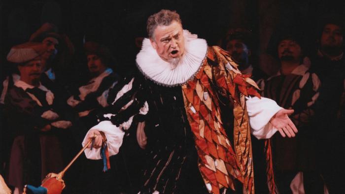 Baritone Petro Pryymak in classic Rigoletto jester costume.