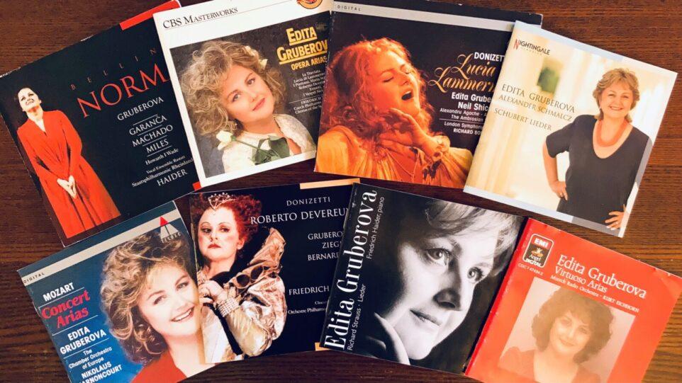Assortment of eight album art portraits of Edita Gruberova